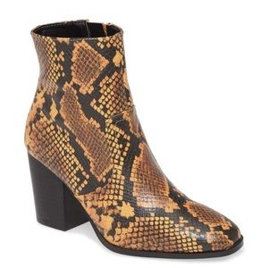 NEW Steve Madden Snake Print Ankle Bootie  Yellow